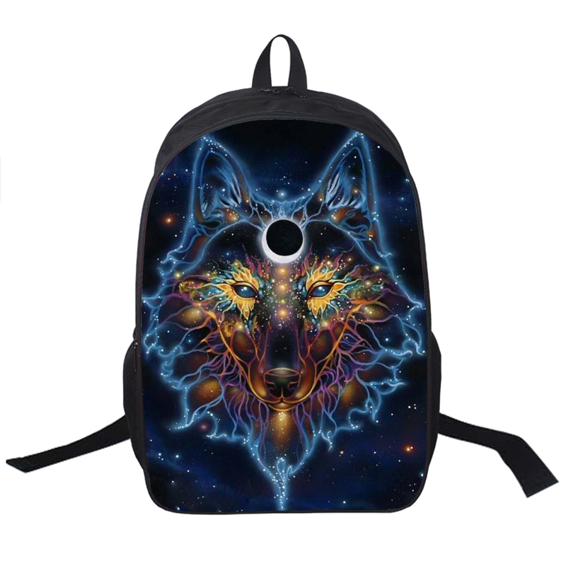 Wolf Husky Printing Backpack Men Women Street Rock Backpack Pug Backpacks For Teenager Girls Boys School
