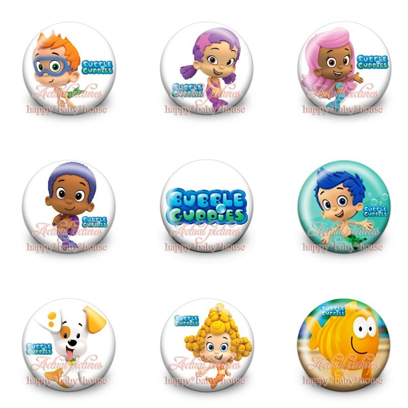 Clothing/bags Accessories Girls Party Gifts Luggage & Bags Hot 45pcs Bubble Guppies Novelty Buttons Pins Badges Round Badges,30mm Diameter