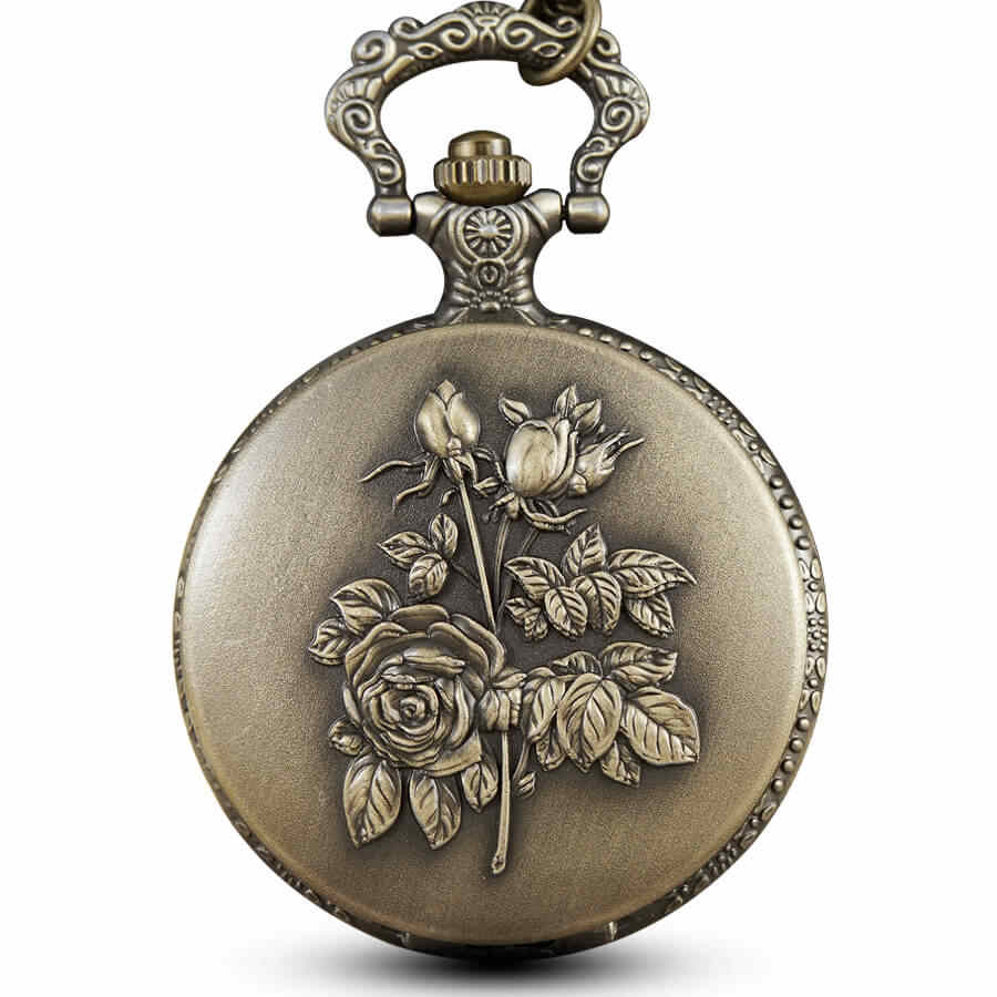 Bronze 3D Flower Rose Pocket Watch Chains Hollow Engraved Pocket Watches Steampunk for Men Women Gifts reloj de bolsillo