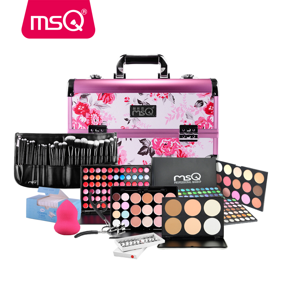 Free Shipping MSQ Professional Cosmetic Kit Makeup Set Chinese Style Make Up Case Face Care Makeup Brush Cosmetic Set For Beauty hot msq new product single foundation black synthetic makeup brush big wood handle cosmetic make up kit free shipping