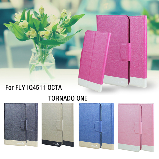 5 Colors Hot! FLY IQ4511 OCTA TORNADO ONE Phone Case Leather Cover,2017  Fashion Luxury Full Flip Leather Stand Phone Cases Cover-in Flip Cases from