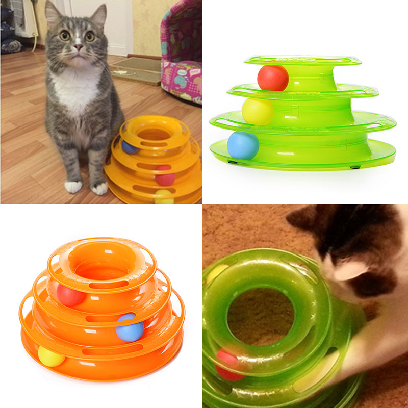 1PC Plastic Three Levels Tower Tracks Disc Cat Toys Interactive Amusement Rides Shelf Dog Cat Toys Trilaminar Ball 2 Style