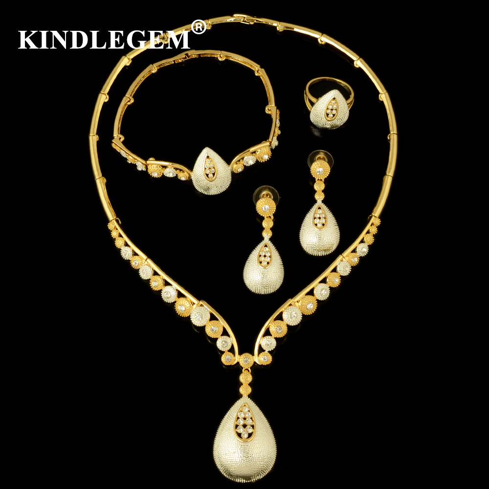 Kindlegem High Fashion Fine Jewelry Sets Luxury Dubai Silver Gold For Women Gorgeous Necklace Bracelet Earring Ring Accessories gorgeous faux crystal oval bracelet with ring for women