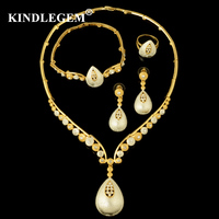 Kindlegem High Fashion Fine Jewelry Sets Luxury Dubai Silver Gold For Women Gorgeous Necklace Bracelet Earring Ring Accessories