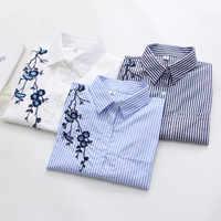 Ih Floral Stickerei Gestreiften Bluse Frauen Langarm Shirt Und Tops Casual Baumwolle Blusa Plus Größe 3XL Tops Büro Dame blusas