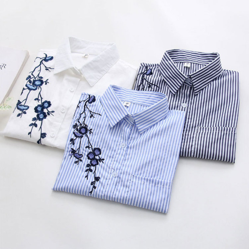 Ih Floral Embroidery Striped Blouse Women Long Sleeve Shirt And Tops Casual Cotton Blusa Plus Size 3XL Tops Office Lady Blusas