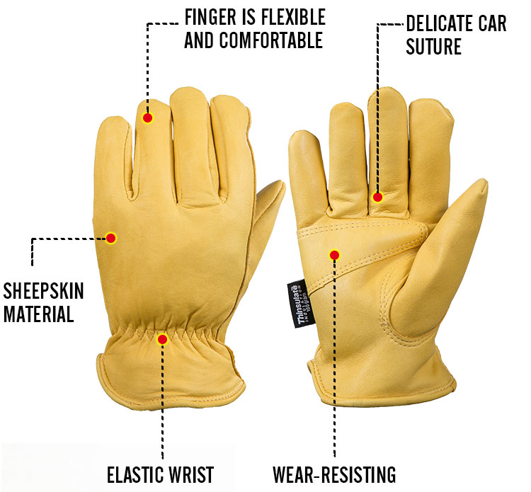 OZERO Men's Work Gloves Goat Leather Security Protection Safety Workers Working Welding -30 Warm Waterproof Gloves For Men 0002