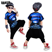 2017 Fashion Hip Hop Streetwear Boys Clothing Set 3D Print Starry sky Boy T-Shirts+Harem Pants Summer Children Clothes Suits