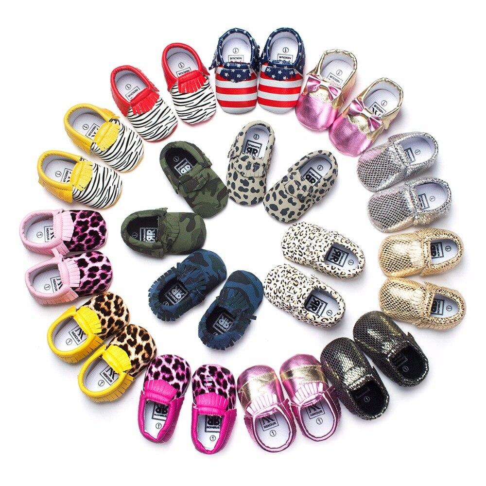 2018 New Fashion Leopard grain Handsome Newborn PU leather Baby Moccasins Soft Soled Infant kids Shoes girls Prewalker