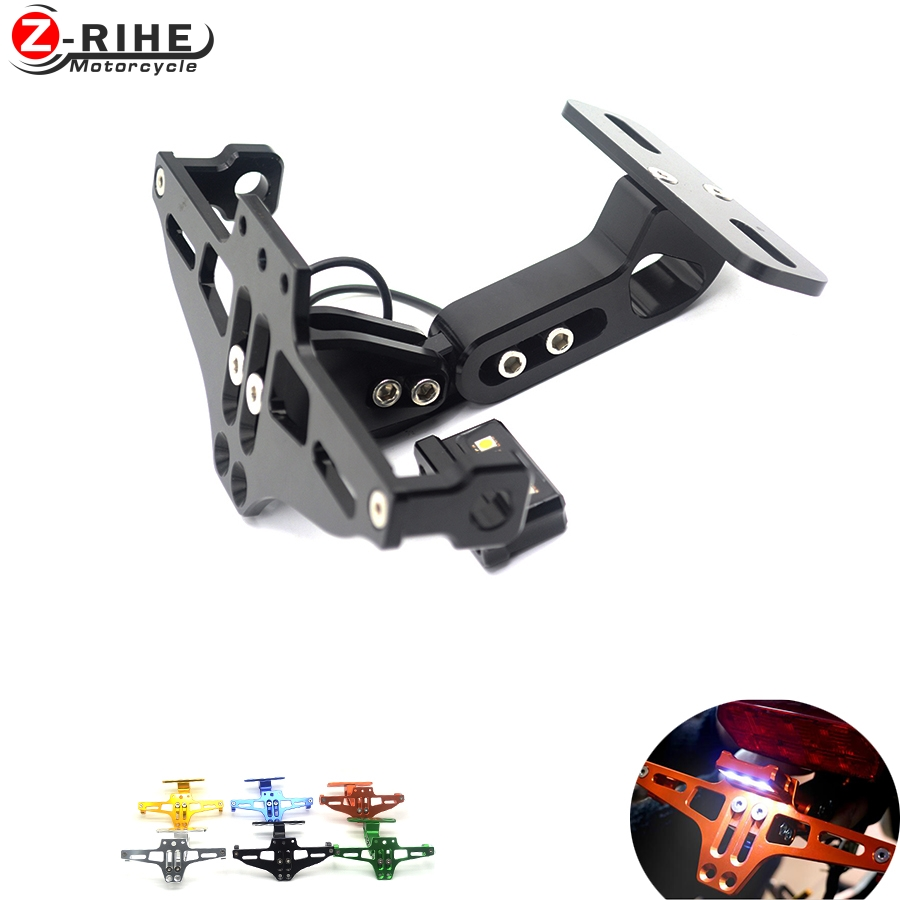 Motorbike Adjustable Angle Aluminum License Number Plate Holder Bracket Universal For Yamaha FJ-09 MT-09 Tracer mt03 MT10 mt 07 hsp racing rc car spare parts accessories bodyshell 420 155mm for 1 10 scale monster truck 94188