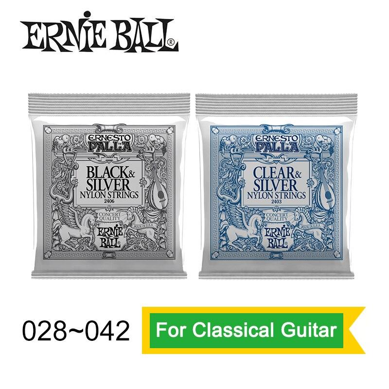 Ernie Ball 2406/2403 Ernesto Palla Nylon Clear and Silver Classical Guitar Strings 028-042 5 pcs alice normal high tension clear nylon classical guitar string normal tension silver plated copper wound strings