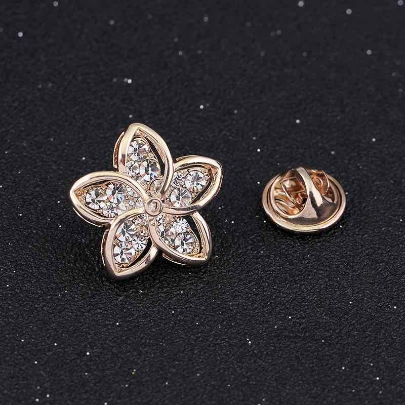 Tinh tế Được Ưa Thích Hấp Dẫn Flower Rhinestone Vàng-màu Trâm Cài cho Phụ Nữ Brooch Pins Jewelry