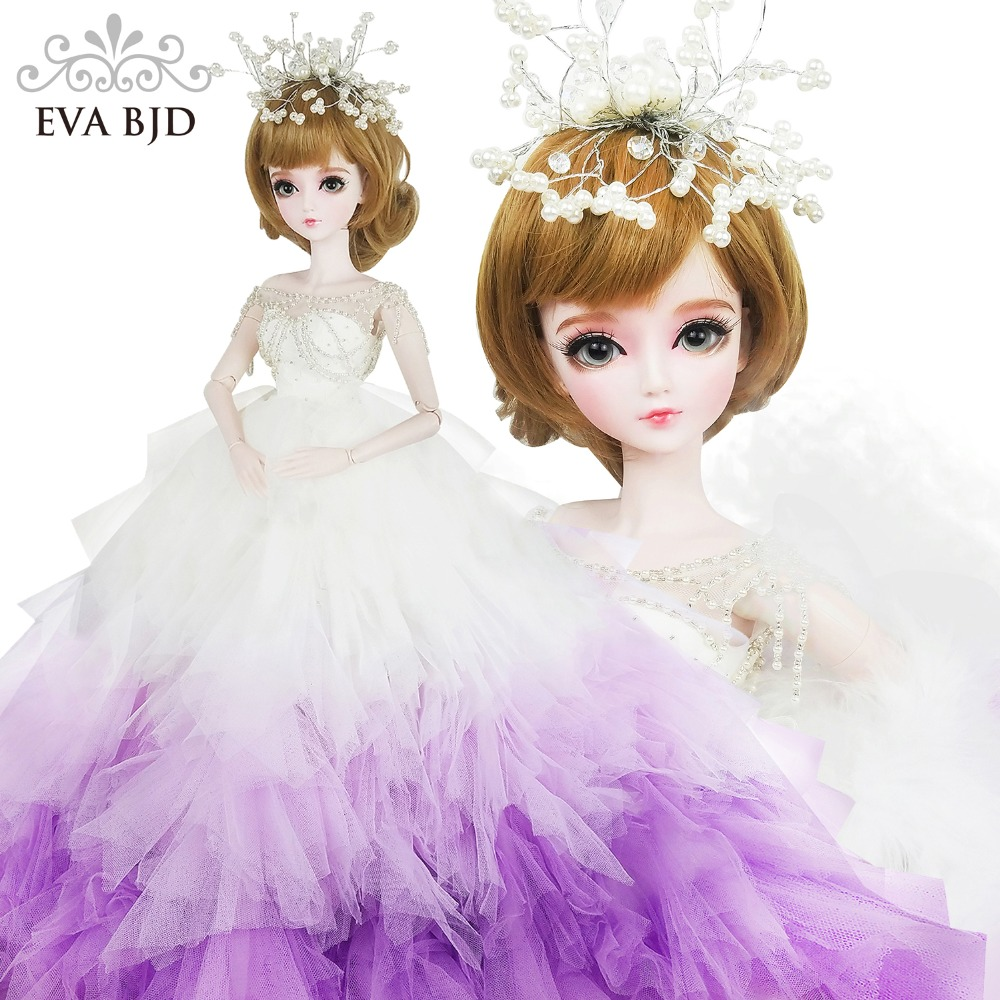 22 EVA BJD Surprise Wedding Gift 1/3 60cm BJD Doll 24inch Ball jiointed doll Bride doll +Handmade Makeup +Full Accessory Figure ожерелье bride makeup frontlet