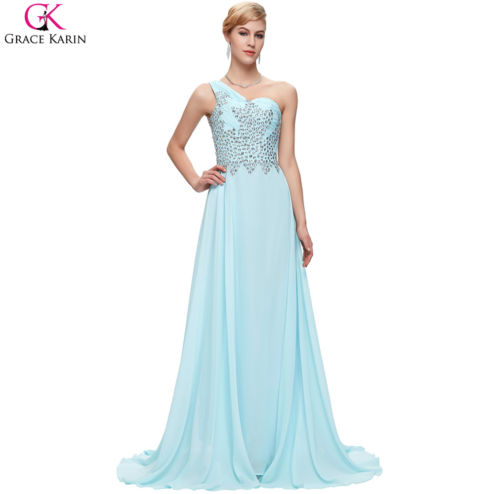 One Shouler Blue Pink Green Chiffon Prom Dresses Long 2017 Grace ...