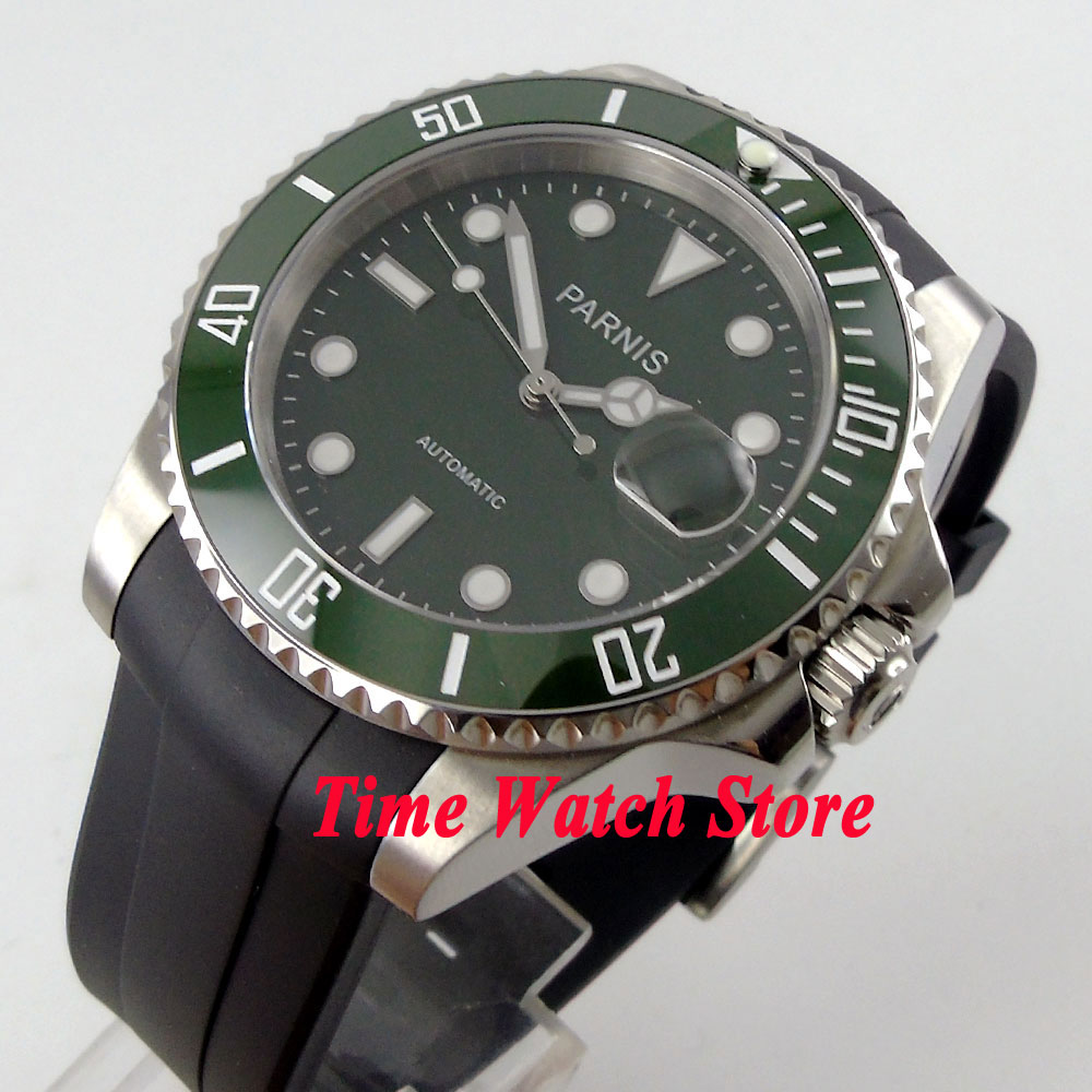 Parnis 40mm green dial luminous sapphire glass Green ceramic bezel 21 jewels MIYOTA Automatic movement watch 569 цена и фото