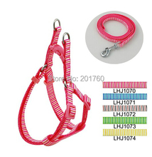 1cm Stripes Print Pet Dog Harness and Leash Set (5 Colors) 10pcs/lot Free shipping LHJ1070