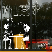 Tea shop girl Cafe Shop Cafeteria decorative glass window stickers Wall Sticker