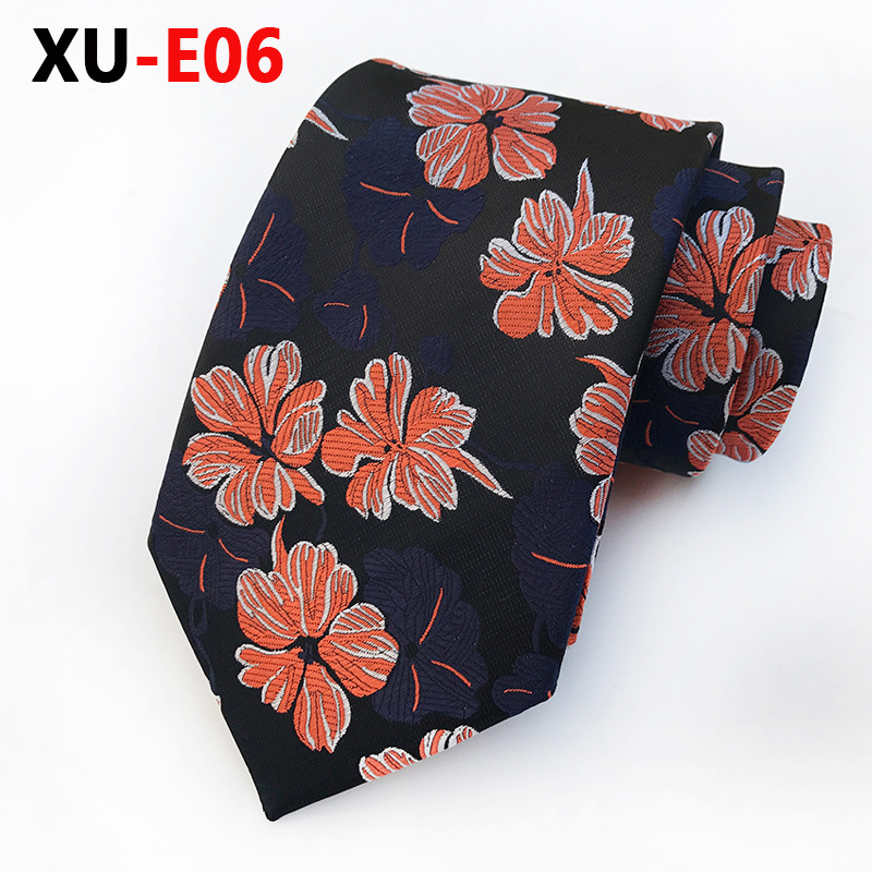 Orange Blue Floral Ties Men's Silk Jacquard Woven Ties For Men Business Suit Man Tie