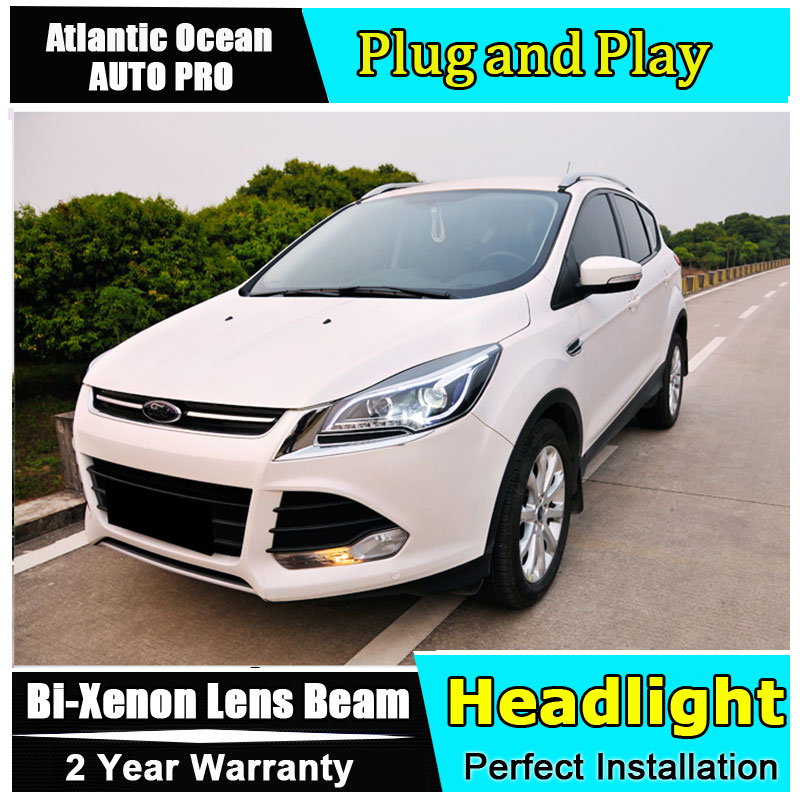 AUTO PRO car styling For Ford Kuga Escape xenon headlights 2013-2015 For Kuga led DRL assembly led headlight Bi-xenon HID KIT KI hireno headlamp for 2013 2015 ford kuga escape se headlight headlight assembly led drl angel lens double beam hid xenon 2pcs