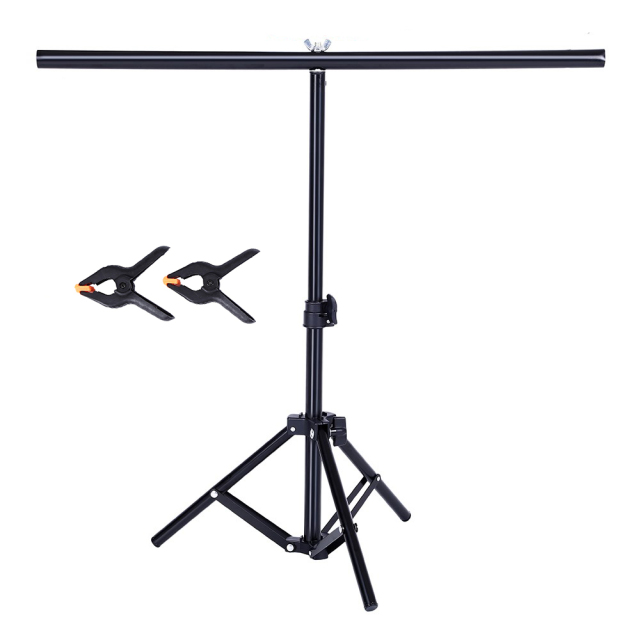 Photography PVC Backdrop Support Background Stand System Metal Backgrounds for Photo Studio Video with 2 Clamps Clip 68cm X 75cm