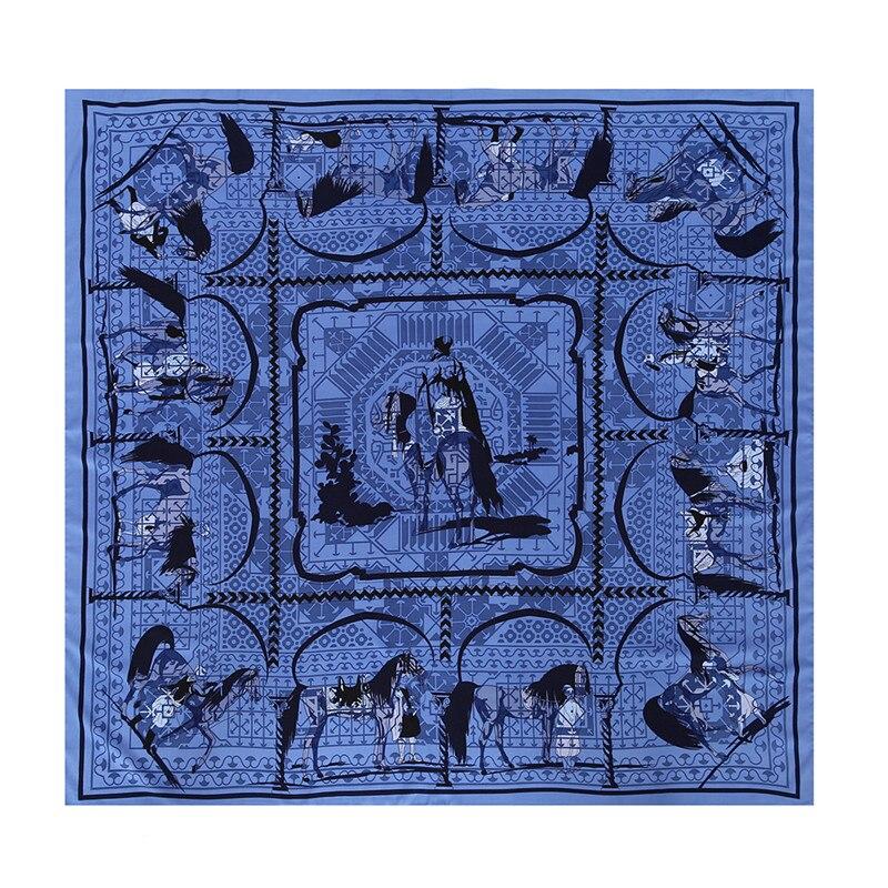 POBING Luxury Brand 100% Silk   Scarf   Women Tame Horse Print Square   Scarves     Wraps   Female Large Hijab Big Shawl Neckerchief 130CM