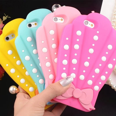 3D Sea Shell Bow Design Protective Silicon Shell Cover For iPhone 7 7plus 5 5G 6 6S 6 Plus 6S Plus New Fashion Girly Phone Cases