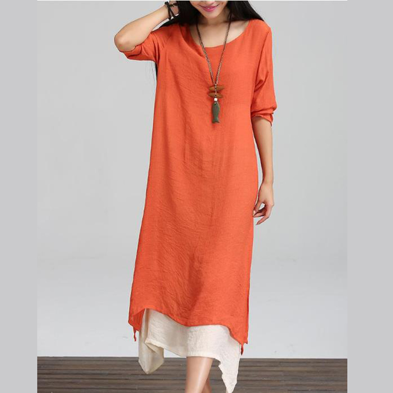 6b20eb78f51 ... 2018 Women Linen Vintage Dress Split Irregular Hem Casual Loose Boho  Long Maxi Dresses Plus Size ...