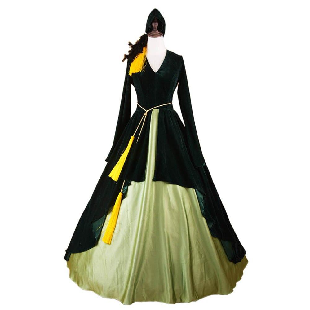 Унесенные ветром Косплэй Алые О 'Хара PortieresCivil войны платье костюмы на Хэллоуин взрослых бархат платье для выпускного вечера Винтаж Макси пл