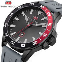 Minifocus Black Silicone Strap Watch Quartz Military Big Dial Men Watches 2017 Luxury Brand Clock Male