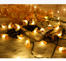 Solar Powered Cute Honey Bee LED String Light 20 LEDs / 30 LEDs/50 leds Fairy Light Outdoor Garden Fence Patio Christmas Garland цена