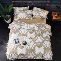 100 Egyptian Cotton Silky Bohemia Leaf Print Bedding Sets Queen King Size Boho Duvet Cover Bed