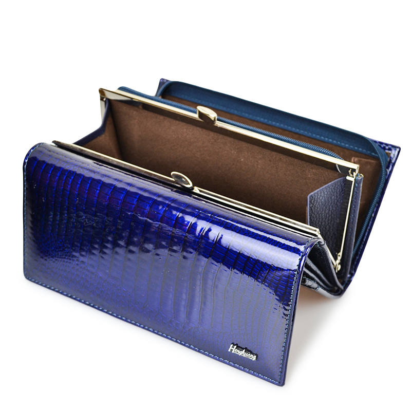 HH Genuine Leather Women Wallets Alligator Long Hasp Zipper Wallet Ladies Clutch Bag Purse 2018 New  Female Luxury Purses new fashion women leather wallet deer head hasp clutch card holder purse zero wallet bag ladies casual long design wallets