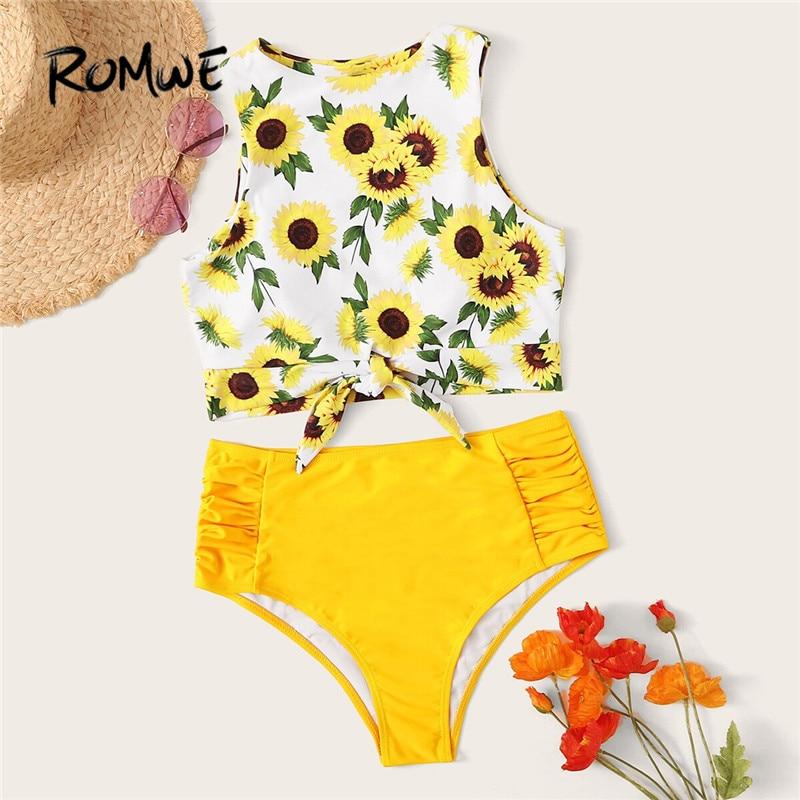 Romwe Sport Sunflower Print Two Piece Swimsuit Knot Hem Bikini Top With Ruched Bikini Bottom Swimwear Women High Waist Swimsuit