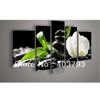 5 Panel Wall Art Botanical Feng Shui White Orchid Oil Painting On Canvas For Living Room Pictures On The Wall Free shipping