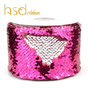 Image 3 - HSDRibbon 75mm 3 inch Shocking pink black colorful Sequin Fabric Reversible Glitter Sequin Ribbon 25Yards/Roll