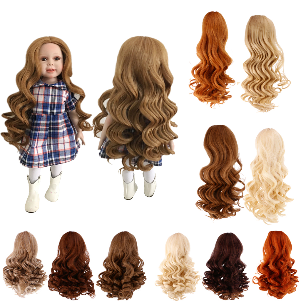 New 1pcs Dolls Accessories Dolls Wavy Curly Hair Wig for 18 inch American Girl Doll DIY Making Party Accessory Hair Replace yy 18 decoration led luminous hair slice extension wig for party transparent 2xcr1220