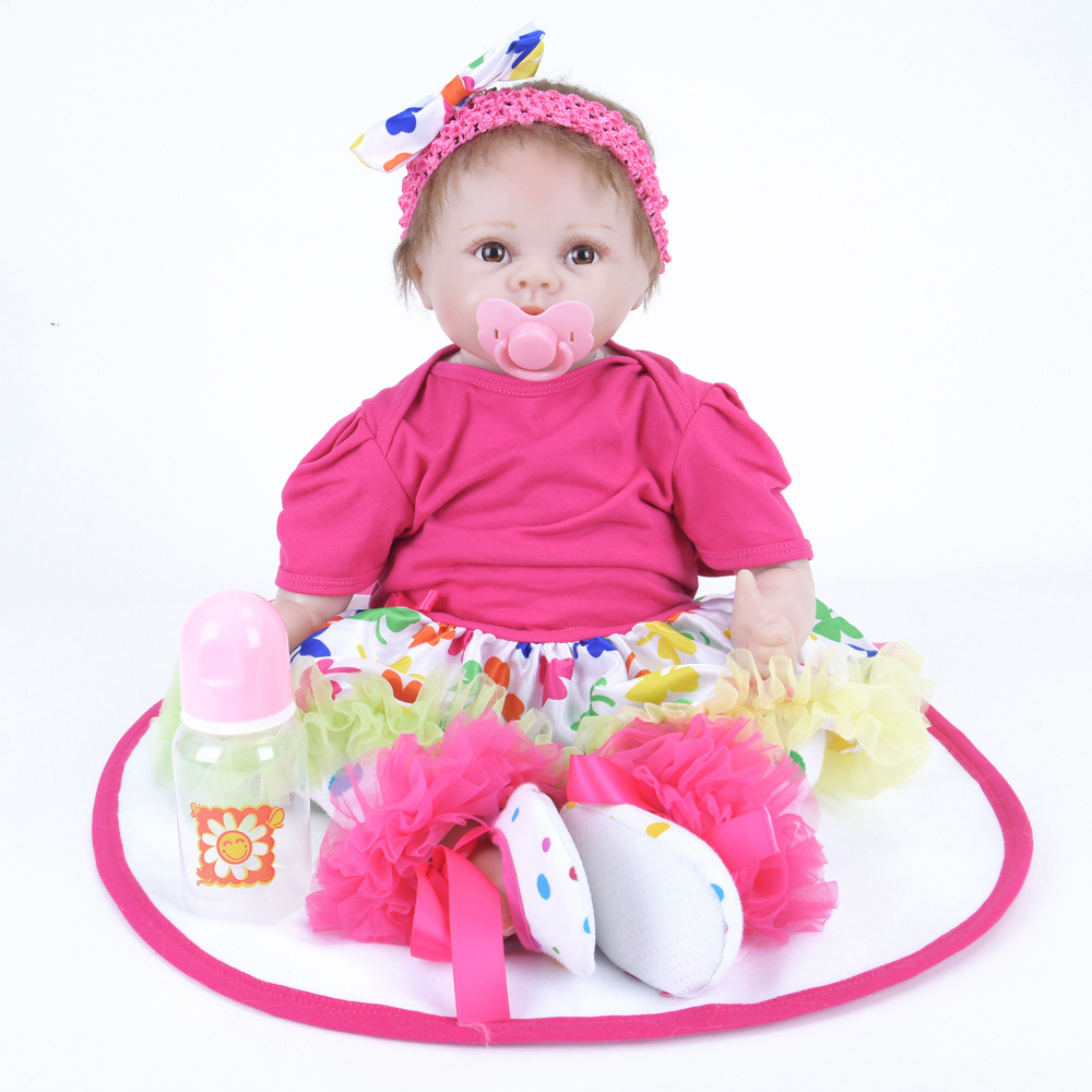 22 inches Cute Reborn Girl Doll Soft Silicone Realistic Princess Newborn Baby with Cloth Body Toy Kids Birthday Christmas Gift 22 inches realistic reborn girl doll soft silicone cute newborn baby with cloth body toy for kids birthday christmas gift