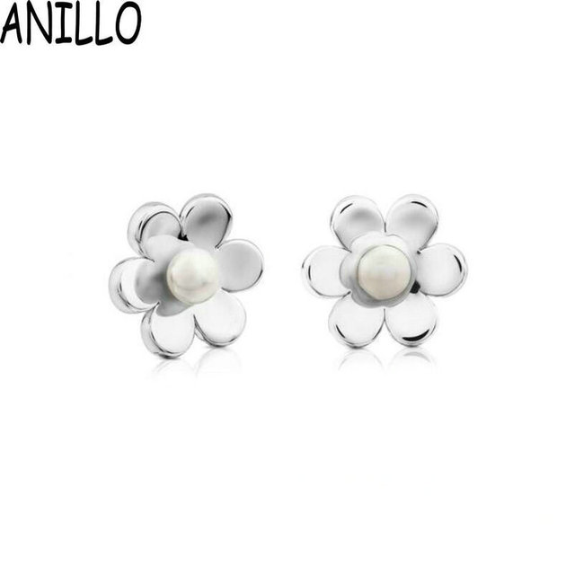 dab376e71 ANILLO Women Plant Flowers Simulated-pearl Stud Earrings Happy Moments  Stainless Steel Gold Color Cute Girls Children Jewelry
