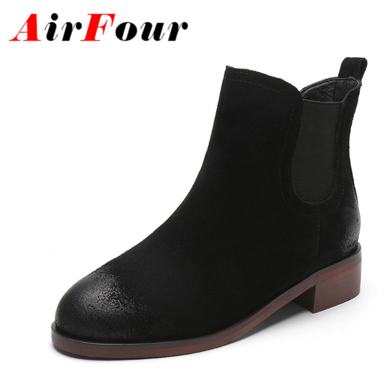 ФОТО Airfour New Ankle Boots for Women Low Heels Autumn and Winter Boots Shoes Woman Large Size 34-43 Round Toe Motorcycle Boots