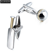 HAWSON Sporty Style Metal Cufflinks 3D Cricket Shiny Silver&Gold for French Cuffs/Shirts Apparel Accessory/Ornament Gift for Men(China)