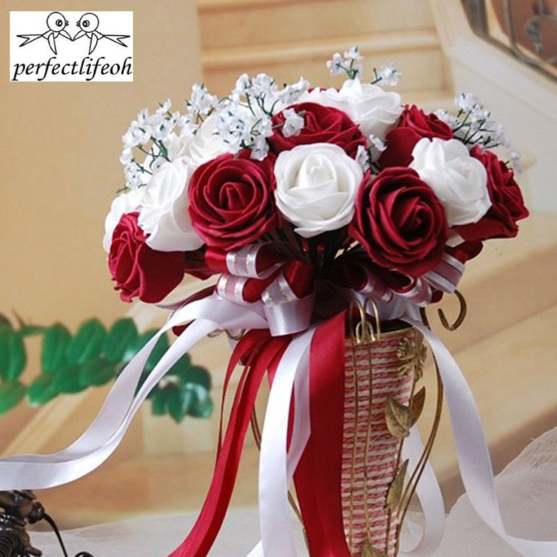 Perfectlifeoh Burgundy And Wedding Bouquets Bridal Bridesmaid Wedding Bouquet Cheap New White&Burgundy/Red Wine Handmade