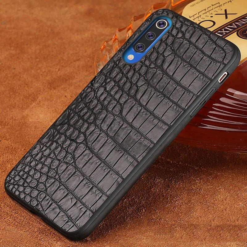De luxe En Cuir de crocodile Véritable coque pour xiaomi mi 9 9T 9T Pro 9SE 8 8se 8 Lite A2 A3 couverture Rouge mi K20 K20pro note 7 4x 5Plus