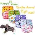 Happyflute charcoal bamboo heavy wetter night  AI2 baby cloth diaper nappy one size fit all