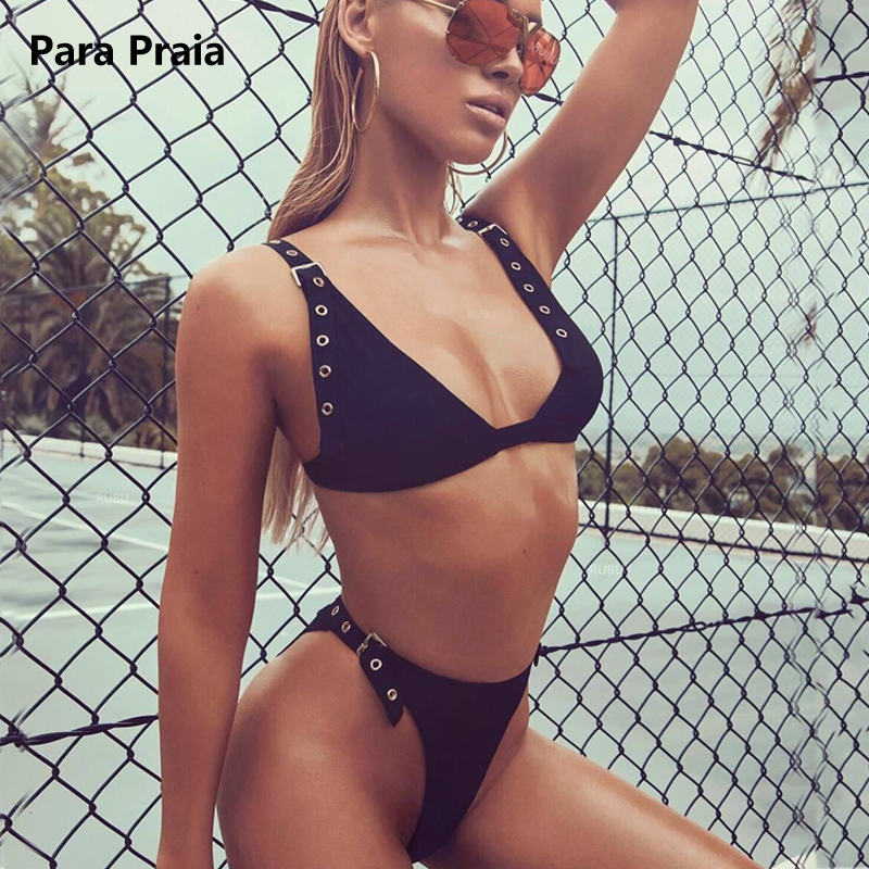 2018 Black Sexy Brazilian Thong Bikinis Adjustable Buckles Swimwear Women Swimsuit Belt High Cut Bikini Set Maillot De Bain thinkthendo sexy string thong bikini micro triangle brazilian mini bikinis set 2017 sex swimwear female swimsuit