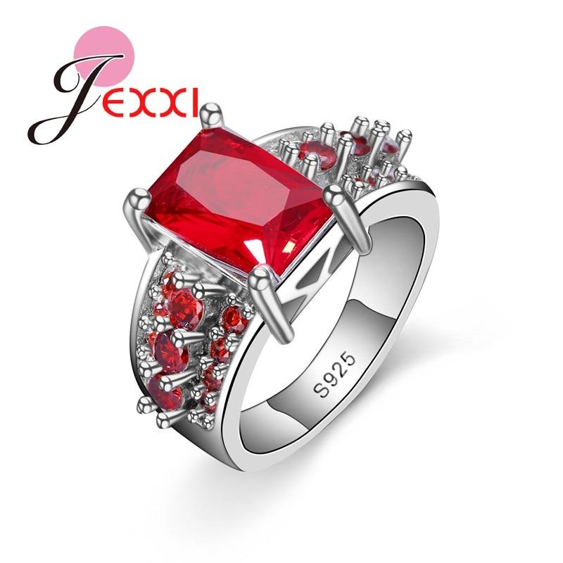 8e64c959763f JEXXI moda Rhinestone piedra anillos plata esterlina 925 cuadrado corte  bijoux anel anillo femenino para las mujeres joyería fina