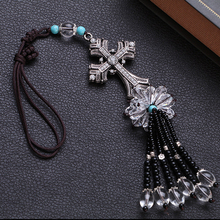 Car Accessories Decoration White crystal diamond Cross with
