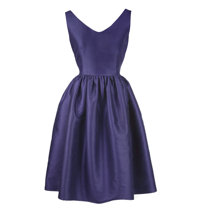 Mr. and miss FREE SHIPPING Retro vintage V-neck dress Hepburn wind Annie blue and purple tutu dress short paragraph Slim Dress