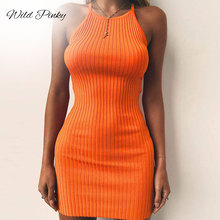 WildPinky Spaghetti Straps Halter High Waist Sexy Dresses Summer Women Fashion Solid Club Backless Party Beach Dress Vestidos
