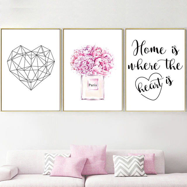 Paris Rose Perfume Geometric Heart Quotes Wall Art 1