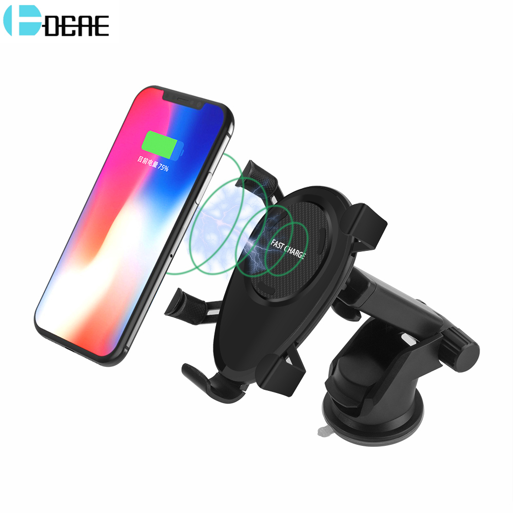 DCAE Car Mount Qi Wireless Charger For iPhone X 8 Quick Charge 10W Fast Wireless Charging Pad Car Holder Stand For Samsung S9 S8